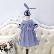 Girls Stripes Ruffles Dress Off Shoulder Bow Dress Summer Sweet Casual Holiday Dresses Western Cute Baby Clothing + Hairband