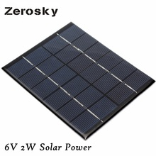Zerosky 6V 2W Solar Power Panel Module DIY For Battery Cell Phone Toys Chargers Portable