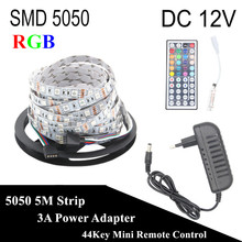 DC 12V RGB LED Strip 5050 5M 300LED Not Waterproof Fita LED Light Flexible Neon Bande LED Tape Lamp + 3A Power +44Key Controller(China)