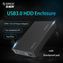 "ORICO 3.5 Inch HDD Enclosure USB3.0 to SATA External HDD Case Box Tool Free Support UASP 8TB for 3.5"" SATA HDD and SSD"