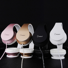 Luxury Beautiful Headband Stereo Headphones w/ Microphone Portable Wired Rose Gold Headset for Mobile Phone iPhone Samsung Gift