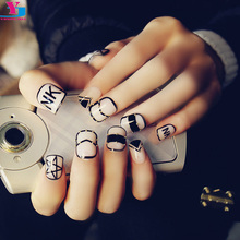 Hot Punk Style Short False Nails 3D Gold Studs Fake Nails DIY Manicure Art Tips Cute Nep Nagels Met Lijm Acessorios Para Mulher