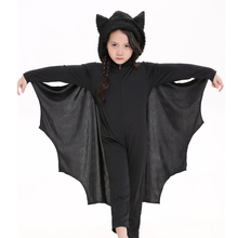 Halloween Animal Cosplay Cute Bat Costume Kids Black Jumpsuit Connect Wing Batman Cosplay Costumes for Boys Girls with Gloves