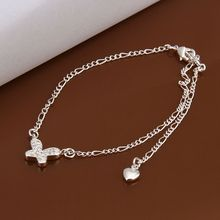 Wholesale Sterling 925 jewelry silver plated Anklets,Fashion Jewelry,hanging Zircon inlaid stone Anklets A008