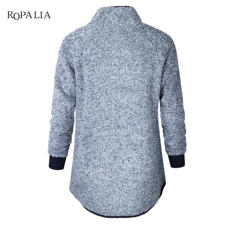 Women Fleece Sweatshirt High Neck Long Sleeve Warm Ladies Pullover Female Casual Loose Tops 14