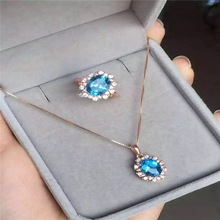 Natural blue topaz set 925 silver inlaid natural Topaz Necklace + Ring