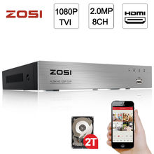 ZOSI 1080P 2.0MP 8CH High Definition Hybrid 4-in-1 HD TVI DVR HDMI Network P2P Free Mobile App for Security System 2TB HDD(China)