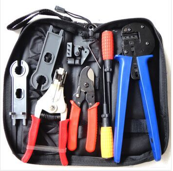 Solar Tool Kit A-K2546B-4 solar Tool set MC4 crimping tool with cable stripper, cable cutter, MC4 spanner and screwdriver<br>
