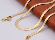 gold-color flat snake chain necklace for men fashion luxury jewelry drop shipping oem cheap 22inch man necklace wholesale