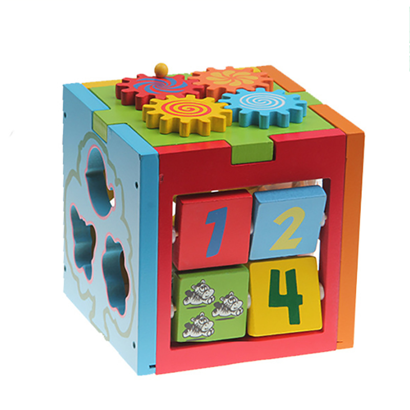 13-24 Months Montessori Baby Wooden Block Toy Bricks Matching Blocks Baby Kids Intelligence Educational Sorting Box Toy<br>