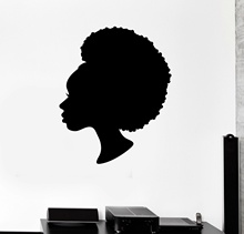 Black Lady Vinyl Wall Decal for Beauty Salon Woman Hair Stylist Stickers Wall Decals For Girls Room Home Decortion ZS145(China)