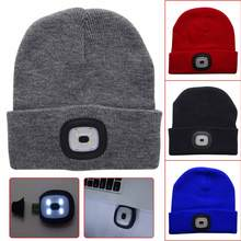 2018 4 LED Warm Knit Hat USB Rechargeable Hands Free Flashlight Headlamp Cap Camping Climbing Fishing Light Black Blue Red Grey(China)