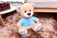 about 20cm cartoon lovely teddy bear with blue coat boy bear plush toy soft doll birthday gift b2007(China)