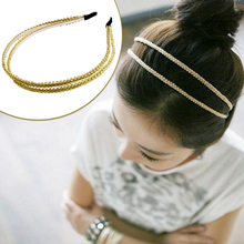 Fashion Metal Double Layers gold Headbands Head Piece Hair Band Jewelry for Women Girls-W128