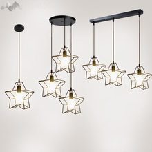 2017 Wrought iron 1/2/3 heads star children room ceiling dome lamp creative personality retro nostalgia cafe bar ceiling light