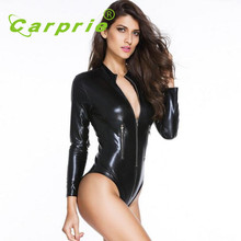 2016 new arrivel motorcycle car racing suit clothes jacket coverall Sexy Adult Black imitation leather Bodysuits women OC 11(China)