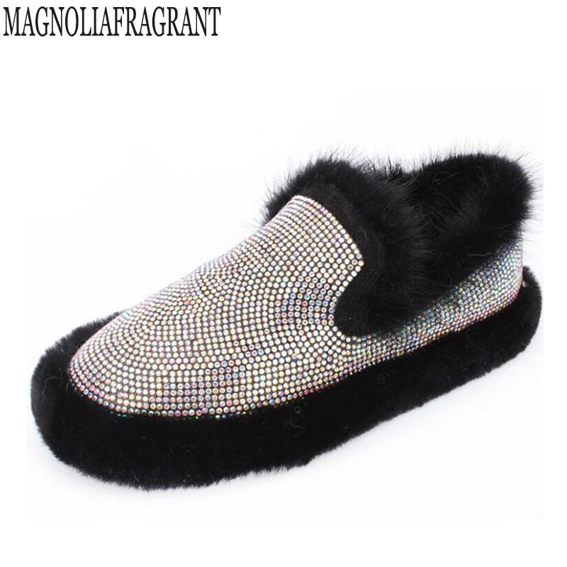 Women Loafers Shoes Inside Warm Soft Women Flats Winter Fur Lined Slip-on Ladies Moccasins Boat Mink hair rhinestone Shoes Woman<br>