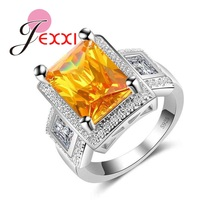 JEXXI Fashion Square Big Width Signet Rings 925 Sterling Silber Men Finger Rings Luxury Yellow Square CZ Stone Jewelry(China)
