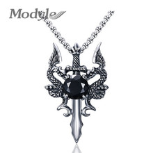 Modyle 2017 New Rock Punk Sword Dragon Bat Link Chain Necklaces for Men Punk Rock Stainless Steel Necklace(China)