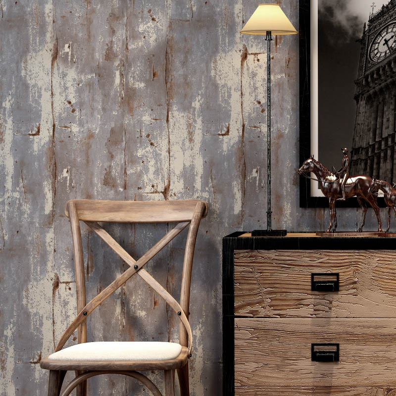 Retro Nostalgic Cement Wall Grey Non-woven Wallpaper Living Room Bar Restaurant Cafe Industrial Wind Wallpaper Papel De Parede<br>