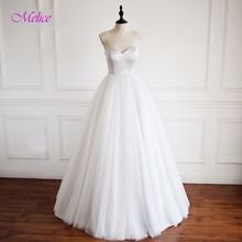 Melice New Fashion Strapless Lace Up A-Line Wedding Dress 2017 Graceful Organza Vintage Wedding Gown Vestido de Noiva Plus Size(China)
