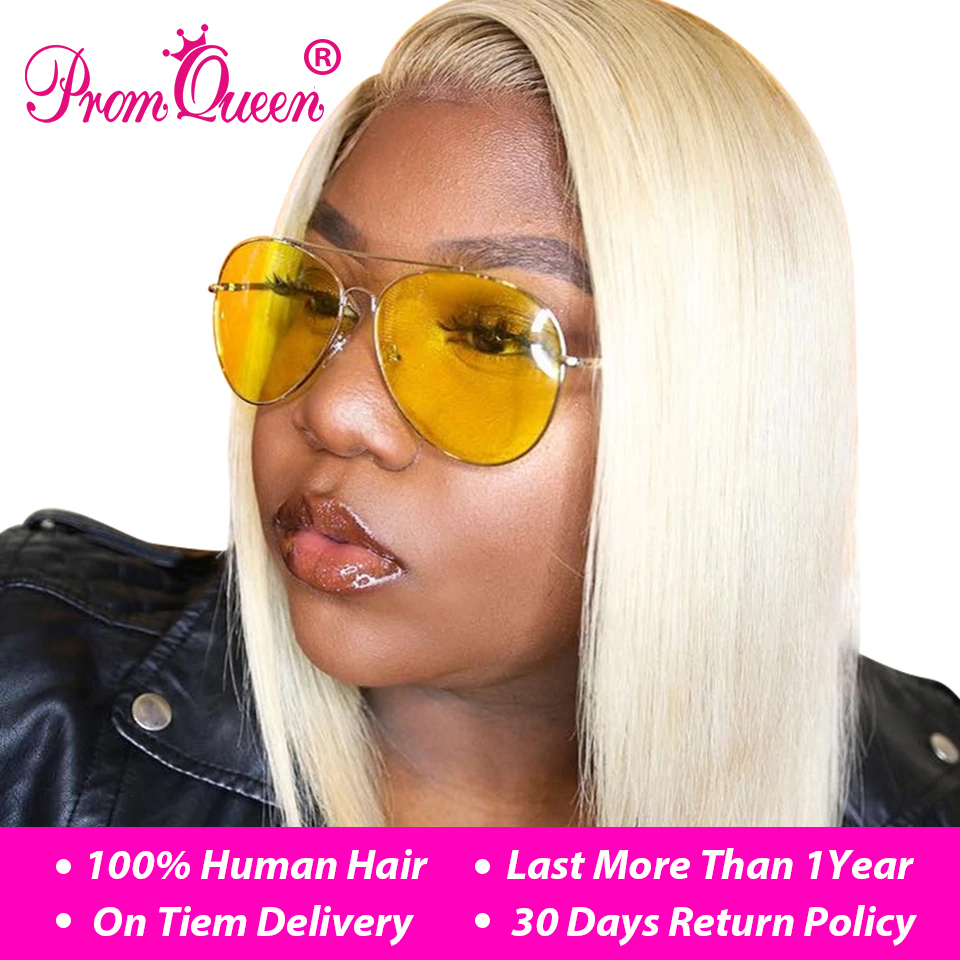 Dropshipping For USA Lace Front Human Hair Wigs 613 Blonde Short Bob wig Straight Lace Wig Brazilian Remy Pre plucked Human Hair(China)