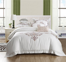 IvaRose Egyptian cotton bed linen high thread count satin bedding sets bedspreads white duvet cover set Embroidery bedclothes(China)