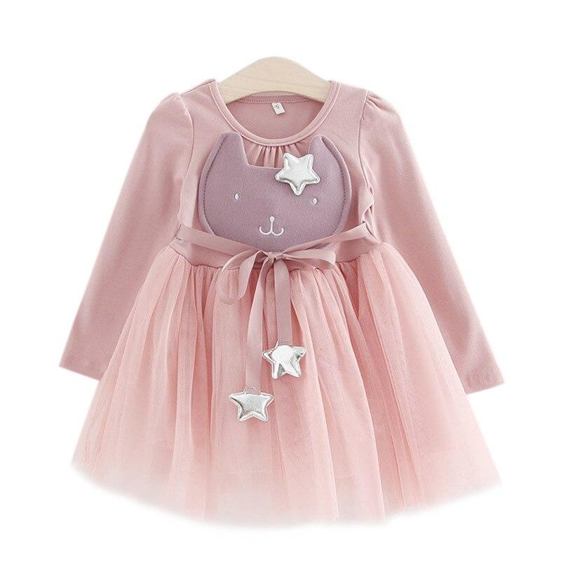Baby Girls Cartoon Dress 2017 Spring Fashion Sweet Rabbit Star With Belt Yarn Dresses Clothing For Girls Children Kids Clothes<br><br>Aliexpress