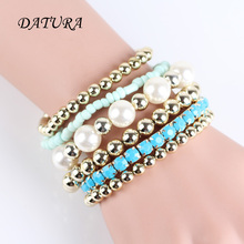 6pcs/set Designer Bohemian Candy Color Multilayer Beads Bracelet Bangles jewelry for women 2016 gift pulseras mujer wrist band