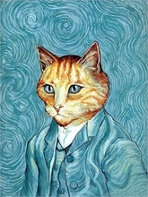 van gogh cat design patchwork hand cloth 100% cotton hand DIY fabric for sewing patchwork diy decoration digital printing patch