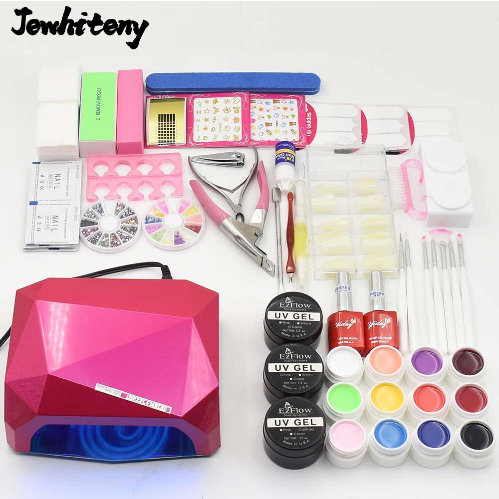 nail art tools sets UV LED lamp &amp; 12 color uv led paint gel varnish nail polish uv build gel top gel base coat manicure kits<br>