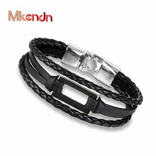 MKENDN High Quality rectangle Round Wood Bracelet Bangle Multi-layer Leather Hand Chain Buckle Men Women Charm Style Bracelet(China)