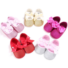 Baby Shoes Girls Princess Mary Jane First Walkers Footwear Pram Crib Big Bow Soft Soled Anti-Slip Kids Infant Glitter Shoe(China)