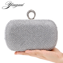 Hot selling finger rings diamonds clutch purse evening bags mixed color rhinestones evening bag small /wallets
