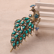 Retro Peacock Big Hair Clip Vintage Bronze Plating Costume Hairgrip Women Hair Jewelry