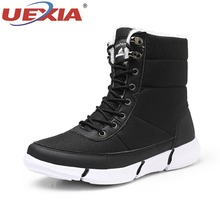 UEXIA Men Snow Boots Winter Warm Ankle Boots Outdoor Sport Canvas Shoes Lace-up Snow Shoes Fur Plus Size Zapatos De Hombre