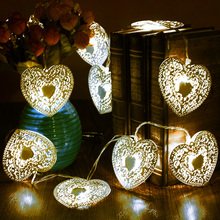 10 LED Warm White Metal Love Heart Shape Light Wire Outdoor Christmas Garden Wedding Party Decoration Fairy String Light