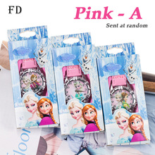 FD Wholesale Cartoon Children Watch with box Hot Princess Elsa Pattern Casual Leather Strap Quartz Wristwatch Girls Kids Clock