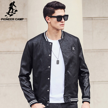 Pioneer Camp 2017 New leather jackets men brand clothing high quality fashion motorcycle black Autumn male leather Jacket 677173(China)