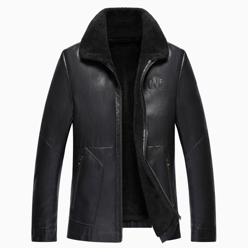 new arrival fashion high quality Autumn Winter Fur Eco Leather Jacket Men Coat Casual Thick Turn-down Collar Zipper size M-3XL