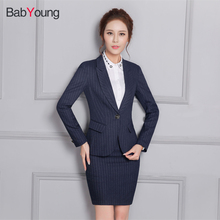 BabYoung Women Blazer Suit Work Wear Mini Skirt Suit Office Lady Stripe Blazer Coat Uniform Skirt and Jacket Sets Plus Size(China)