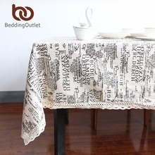 BeddingOutlet Letters Tablecloth Dark European Style Table Cloth Cotton Line Lace Edge Table Cover Rectangular 9 Sizes