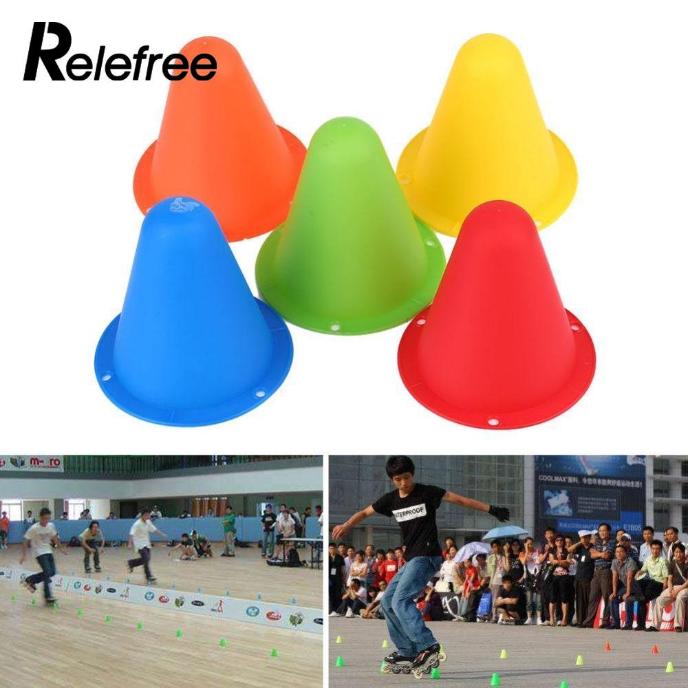Relefree 10pcs inline skating Mark Cup Soccer Rugby Speed training Equipment Space Marker Cones Slalom Roller skate pile cup(China)