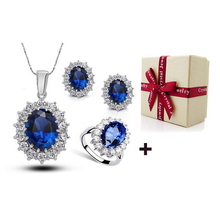 2017 Hot Sales William and Kate Royal Blue Wedding Jewelry Sets Christmas Valentines Gifts Jewellery With Box Packing(China)