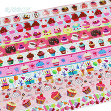 (10 Colors Mix) 22mm Grosgrain Printed Colorful Candy Cakes Ribbon Wholesale Christmas Ribbons