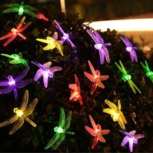Dragonfly Solar Christmas Lights, 20ft 30 LED Waterproof Fairy Decoration Lighting for Indoor/Outdoor Home, Patio, Lawn, Garden