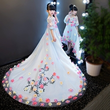 Newest Design Girls Flower Dress Children Clothes Summer 2017 Baby Dress Flower Fairy Trailing Piano Performance Dresses YL31