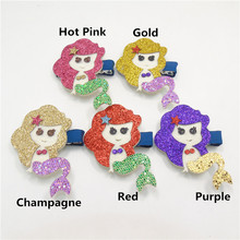 15pcs/lot Glitter Mermaid Hair Clip Gold Red Royal Purple Cartoon Smiley Girl Barrette Felt Starfish Kid Boutique Princess Pinch(China)