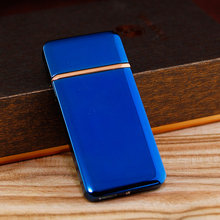 Blue Electronic Lighter with 1 Extra Heat Wire USB Cigarette Lighter Touch Type Electric Metal Lighter with Independent Box