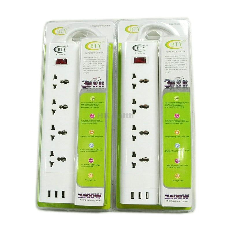 Power Strip 100-240V Multi-socket EU/US/UK Portable Socket 3USB 4 Plugs Mobile Tablet Charger Universal Socket With USB BTY S430<br><br>Aliexpress